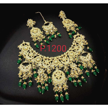 Beautiful White Pachi Kundan And Green Hanging Pearls Design Bridal Necklace Set 1100