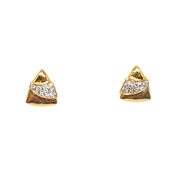 22K Gold Triangle Shaped Fancy Earrings MGA - BTG0405