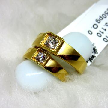 Gold hm916 single stone bezel engagement couple rings