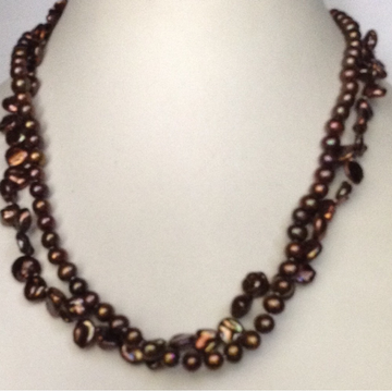 Freshwater Brown Potato and Chips Baroque 2 layers Necklace