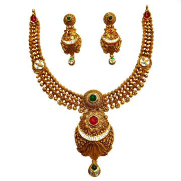 22K Gold Antique Modern Necklace Set MGA - GN0095