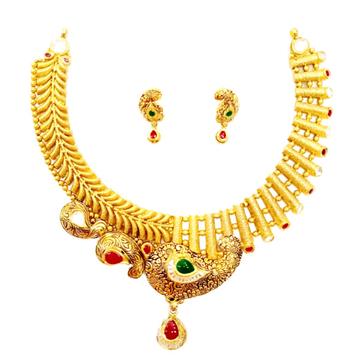 916 gold antique necklace set mga - gn023