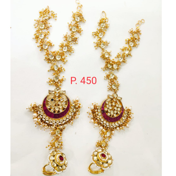 Bridal Gold plated red stone kundan & Pearl Hath panja 1409