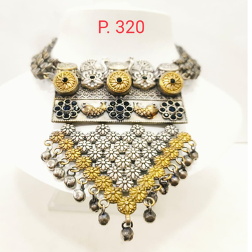 Antique oxidised silver & gold plated flower design choker set 1660