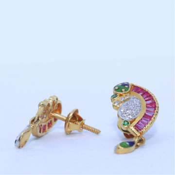 22KT / 916 Gold Fancy pink Stone Special Occasion Best Earring for Ladies BTG0023