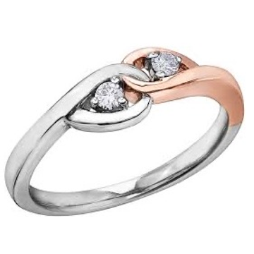 18 kt, platinum dual tone knot ring for women