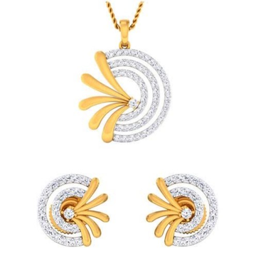 22 karat, 916 hall-marked, yellow gold fancy Round matte finish extension design earrings and pendant set for women jkp004