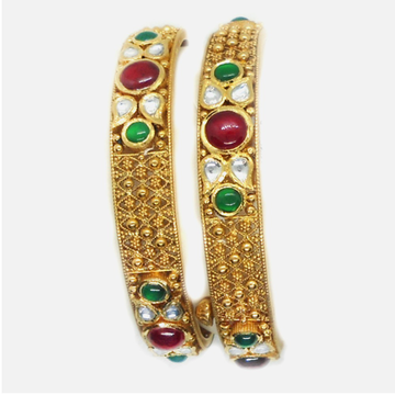 916 Gold Antique Colorstone Bangles RHJ-6016