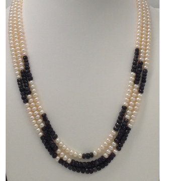 Freshwater white Flat Pearls 3 Layers Necklace with Faceted Blue Sapphires Round Beeds