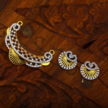22KT Gold Traditional Design CZ Hallmark Design Pendant Set