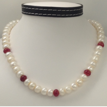 Freshwater White Flat Pearls with Red Ruby Beeds M...