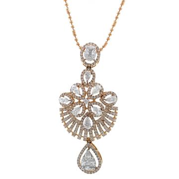 Giovanea Pressure Set Diamond Pendant in Rose Gold 7SHP11