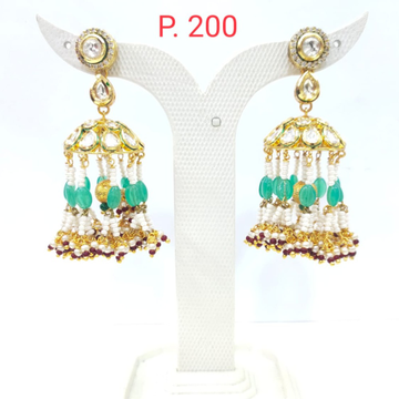 Gold tone Kundan Jhumka earring with mint color Beads & Pearl 1625