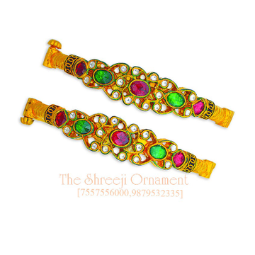 916 Gold Colorful Jadtar Copper Kadali Bangle - 0010