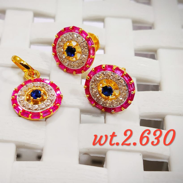 22KT Gold CZ Ruby With White Stone Pendent Butti Set