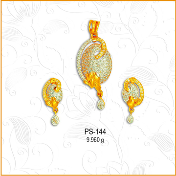 916 Gold Classic Oval Shape CZ Pendant Set PS-144