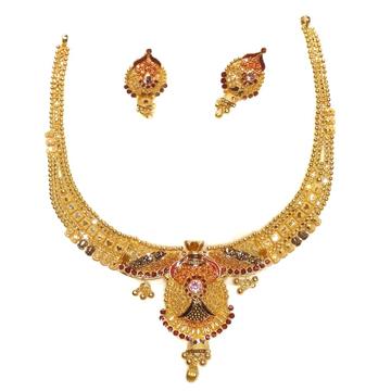 916 gold kalkatti meenakari necklace set mga - gn086
