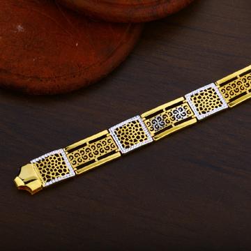 Mens 22K Gold Rodium Plain Cz Bracelet-MPB16