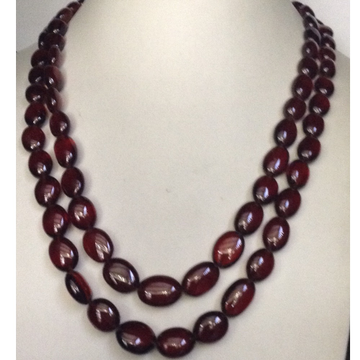 Natural Brown Gomed(Hessonite) Oval Aweja Graded 2 Layers Necklace