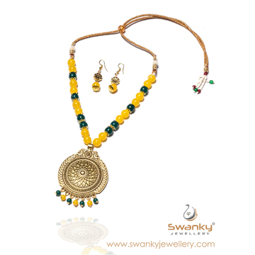 Designer colorful beaded necklace set sj-n002 by Swanky Jewellery