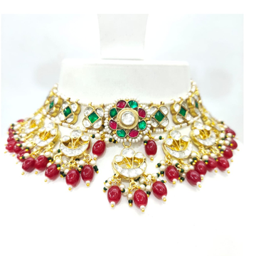 Hanging ruby with choker kundan antique flower work necklace set 1599