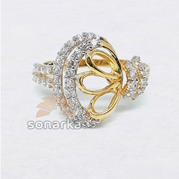 22kt CZ Diamond Gold Ring Fancy Design for Women