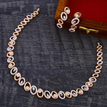 18CT Rose Gold Cz Classic Necklace Set RN157