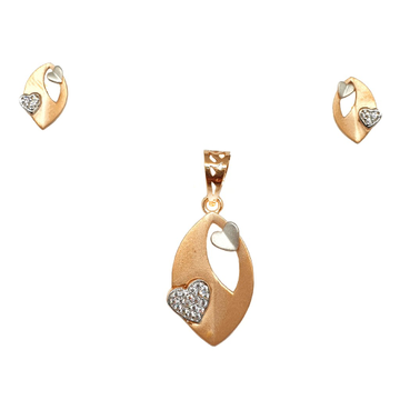 18K Rose Gold Heart Shaped Matte Finish Pendant Set MGA - PTG0146