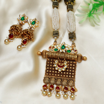 916 Gold Antique Long Wedding Necklace Set PJ-N004