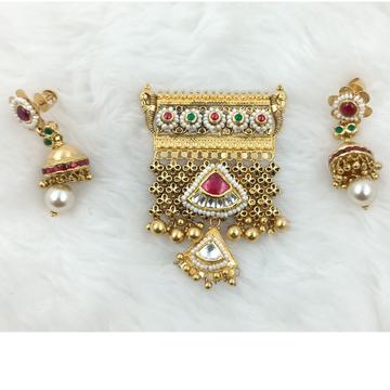 916 GOLD JESALMERI LIGHT WEIGHT ANTIQUE PENDENT SE... by Ranka Jewellers