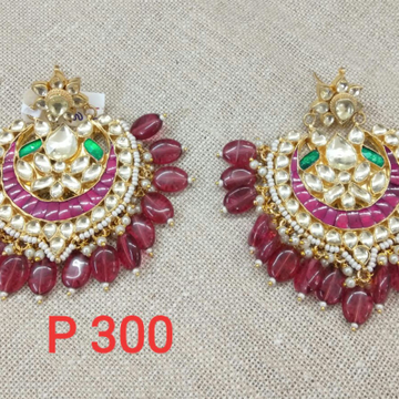 Designer Chand Bali With Pink Beads