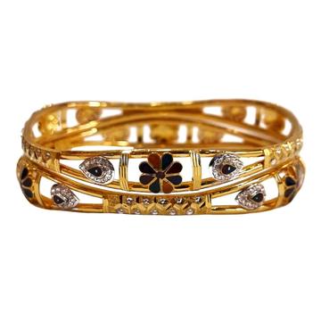22K Gold Designer Meenakari Kadli Bangles MGA - GK...