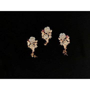 92.5 Sterling Silver Antique Rose Gold Pendant Set Ms-3843