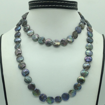 Freshwater BlackButton BaroquePearls Knotted Lon...
