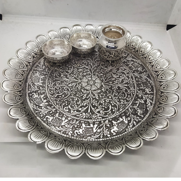 elephant motif pooja thali set in real silver antique work by puran by Puran Ornaments
