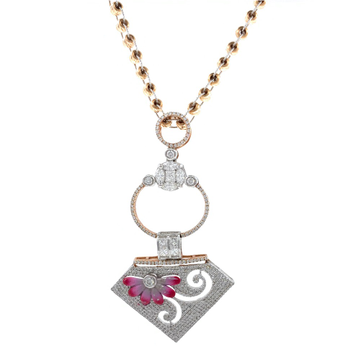 Hermoso Diamond Pendant Painted in Rose Gold 8SHP8...