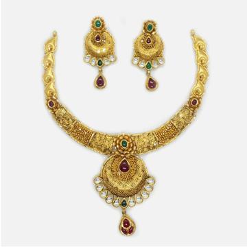 916 Gold Antique Bridal Necklace Set RHJ-4239
