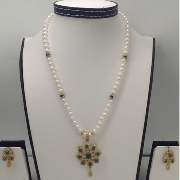 White And GreenCZ PendentSet With PotatoPearls Mala JPS0108
