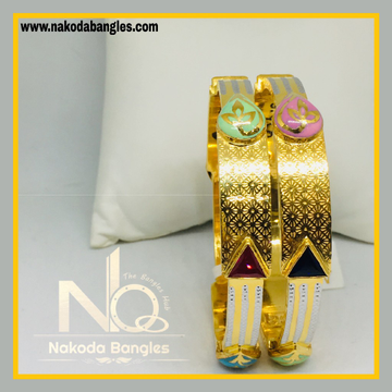916 Gold Stone Fancy Bangles NB - 534