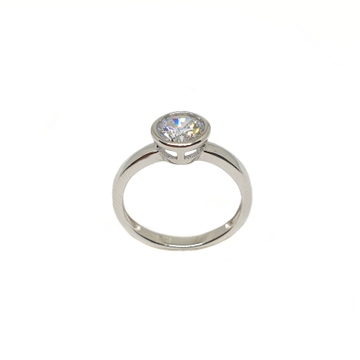 925 Sterling Silver Solitaire Diamond Ring MGA - LRS3471