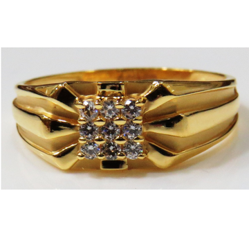 22kt gold casting cz classic gents ring