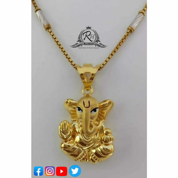 22 Carat Gold Ganesha Chain Pendants RH-PC496