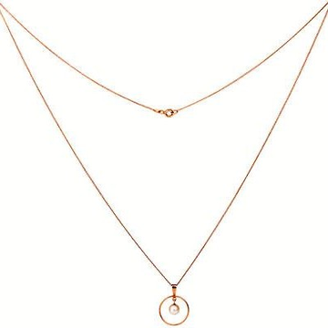 18kt rose Gold Delicate chain with round unique pendant for women JKC006