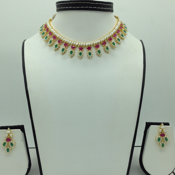 Pearls,Red And Green CZ Stones Necklace Set JNC012...