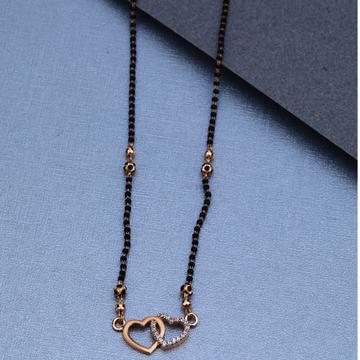 18KT Rose Gold Double Heart Design Mangalsutra