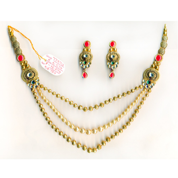 22KT Gold Light Weight Beaded Long Necklace Set-019