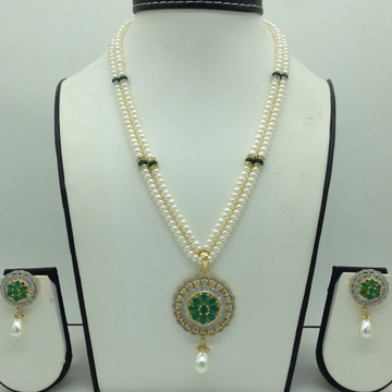 White,GreenCZPendentSet With 2Line FlatPearls...