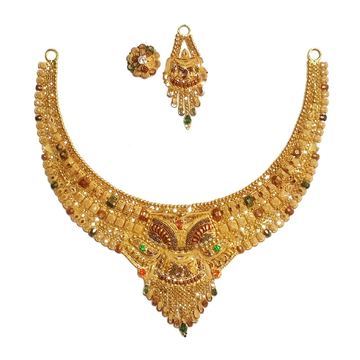 916 Gold Kalkatti Half Necklace Set MGA - GN058