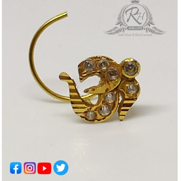 18 carat gold om daimond nose pins RH-NS209
