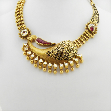 916 Gold Kundan Bridal Necklace Set RHJ-3365